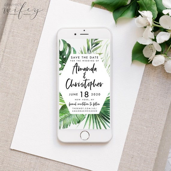 tropical save the date electronic save the date palm tree etsy