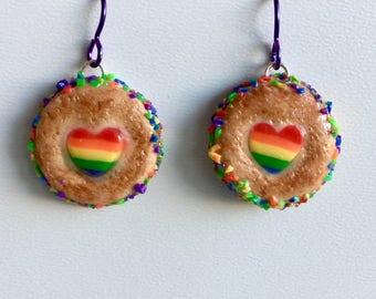 Rainbow Biscuit Earrings (niobium-Ear)