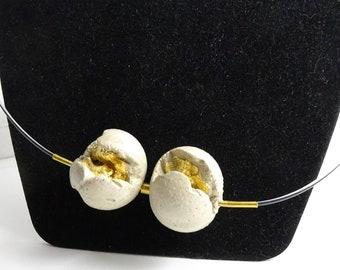 """Necklace with concrete contemporary jewelry """"beads orbit...""""."""