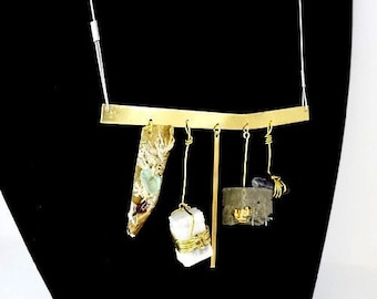 """Necklace with concrete pendant and gold and marble and..., contemporary jewel, """"Timeless relics..."""""""