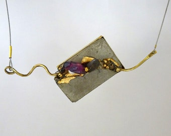 """NEW - Necklace with concrete and gold pendant, contemporary jewel, """"Precious Chaos..."""""""