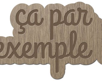 This example - Little words - laser cut wood - brooch