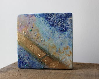 Abstract Mixed Media Painting on Wood