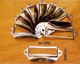 Porte-/étiquettes de Tiroir Armoire Bronze Vintage Acienne 69 x 29mm Lot de 20 Poign/ée de Cadre /Étiquette