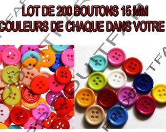 Set of 200 buttons 4 hole 15 mm resin 13 colours blue pink white yellow red green...