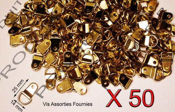 50 attache crochets de fixation or pour cadre encadrement de. Black Bedroom Furniture Sets. Home Design Ideas