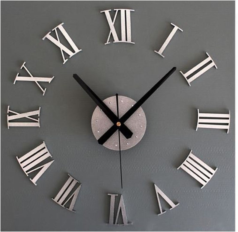 Kit complete, silent wall clock, mechanism figure Roman needle, pendulum,  dial Configuration 40-60 Cm silver or gold your choice