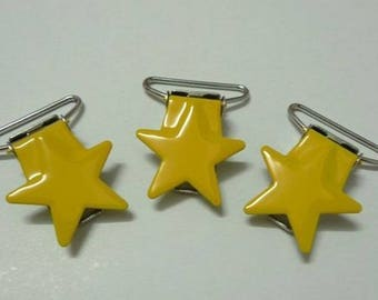 Star, soother, yellow star clip, clip for pacifier clip