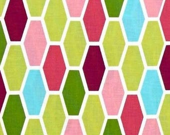 Geometric design fabric, fabric patchwork green Miller American coral pink Hexagon in coupon
