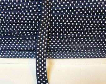 Bias, elastic bias, 16 mm bias, white navy blue bias, polka dot bias, metre-to-metre bias
