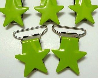 Pacifier clip green star