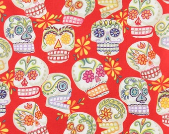 Skull fabric, Alexander Henry coupon red patchwork fabric