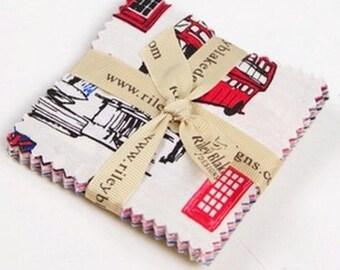 Charm pack fabric by Riley Blake british invasion set