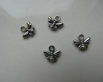 x 3 10x11mm silver bee charm