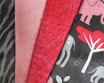 set of 4 minky elephant watermelon 50cmx56cm Velvet fabrics