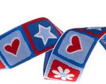 Ribbon stripe heart Red Blue Star 22 mm by 50 cm