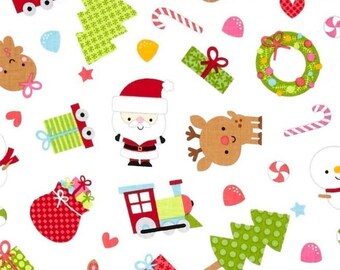 Fabric Christmas patchwork Father Christmas santa express by Riley Blake