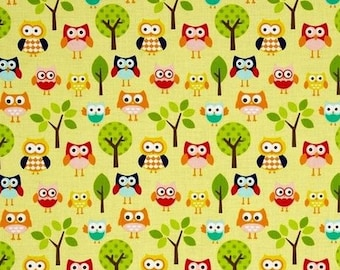 OWL fabric yellow by Riley Blake fabric coupon