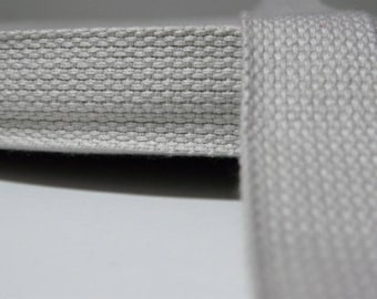 Cotton webbing, strap webbing 25 mm ivory by the yard