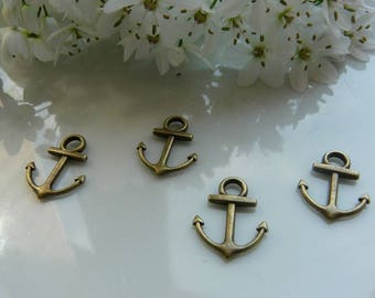 bronze anchor charms pendant 2 x