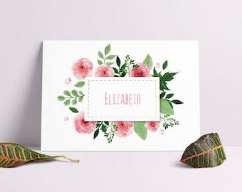 Floral Baby Name Printable, Nursery Wall Art, Nursery Printable,  Calligraphy, Woodland Nursery, Baby boy nursery, Baby Girl Nursery