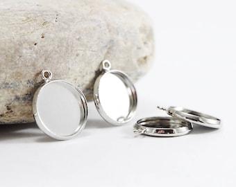 10 14 mm cabochons - Diam medallions. Int'l. : 14 mm - dark silver color