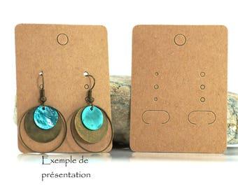 20 Cartons / Jewelry Display - 6.7 x 5 cm - Kraft Marron Card