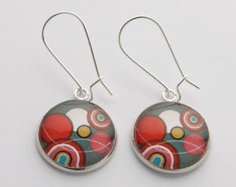 Fancy silver taupe and red retro glass cabochon earrings