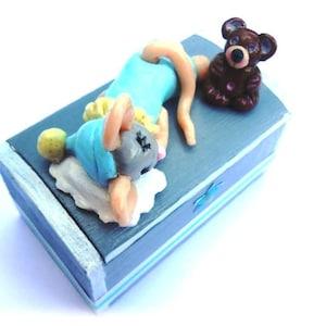 ADSSM Bo/îte /à dents de lait en bois pour enfants avec pince /à /épiler profil/ée carte de carnet