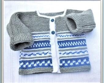 fce50ecbab743 gilet bébé 3 mois tricoté main jacquard et mousse paletot veste brassière  pull bébé 3 mois