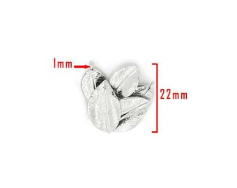 Leaf silver tone J model embellishment size approximately 2.2 cm