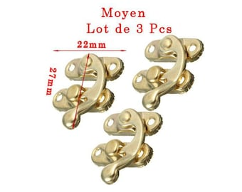Lot 3 sets gold latch closure size approximately 27x22mm model in 2 parts. Unit.