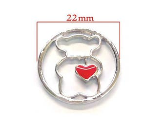 Disc charms floating 22 mm Teddy bear with a red heart shape.