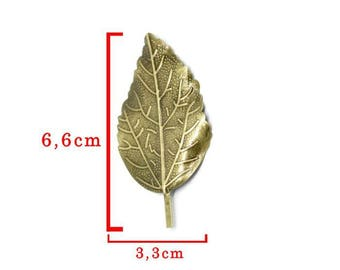 Leaf embellishment model B bronze tone size approximately 6.6 cm