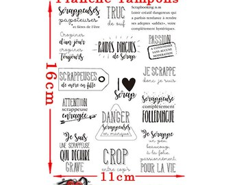 Set of 15 stamps for Scrapbooker french text print 16 x 11cm