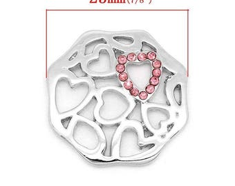 Floating charms A 24x23mm rhinestone heart shaped disc