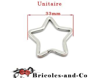 Key ring silver ring star 33mm