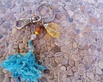 Citrine keyring,Craft keyring,Boho key ring ,citrine Keyring,Yellow and turquoise keyring,