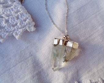 Double crystal pendant, 925 silver chain necklace