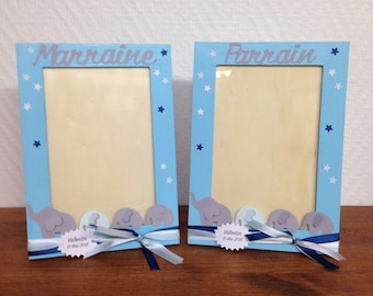 Set of 2 frames Godfather / godmother - customizable on request on colors and theme