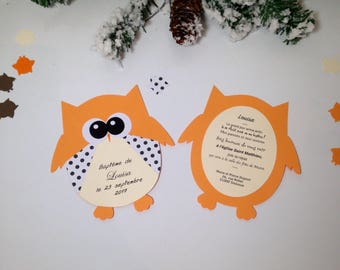 Invitation theme OWL comes with its envelope. For baptism or birth. Dimensions: 12,5 x 14cm 210g paper