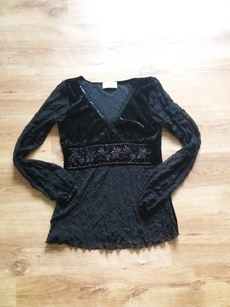 Black luxurious blouse vintage blouse vtg embroidered blouse beautiful womens blouse New York