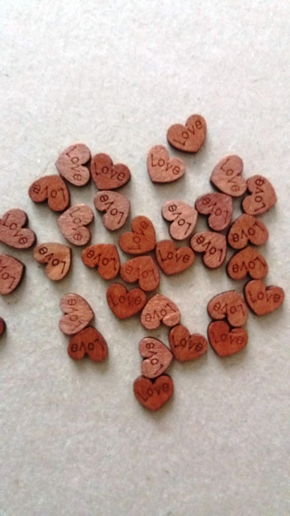 Sew Crafts Knitting 20 Wooden Heart Buttons Wood UK
