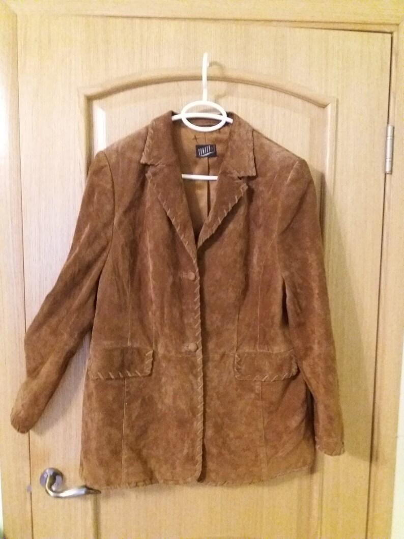 567f13580 Chamois leather jacket women's shammy jacket size XL beautiful brown coat  vintage UK 18