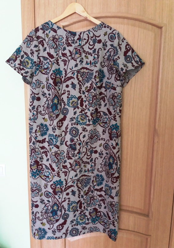 Long linen dress stright new size XL gray with flo