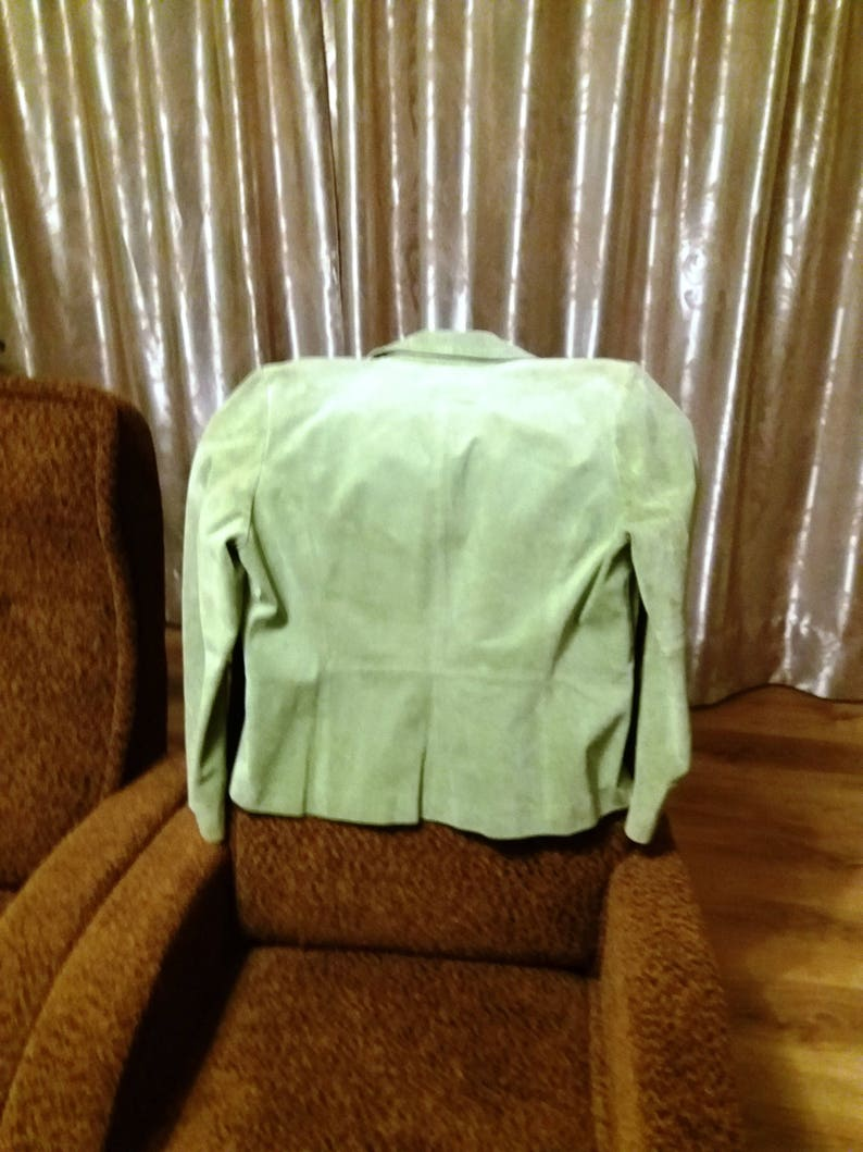 Beautiful salad green women/'s leather jacket GB 18 Size US L EU 46 Vintage leather jacket spring green women/'s chamois leather jacket