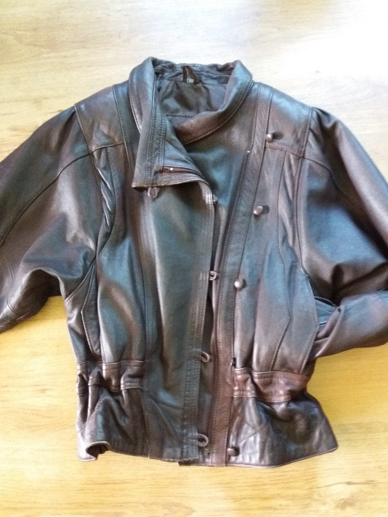 9698d3f35 Brown vintage leather jacket womens genuine leather jacket size US M EU 38  GB 14 autumn jacket coat naturalsoft leather Salman leather