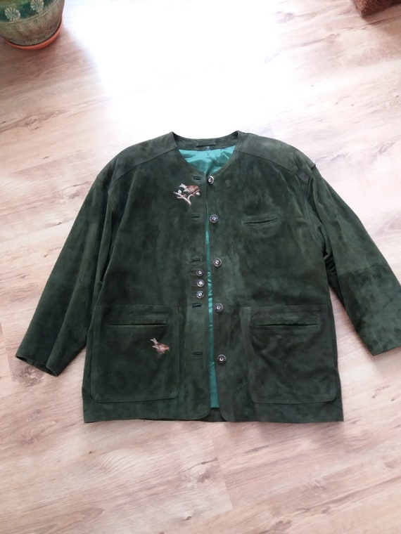 Vintage Leather Jacket Dark Green Womens Chamois Natural Etsy