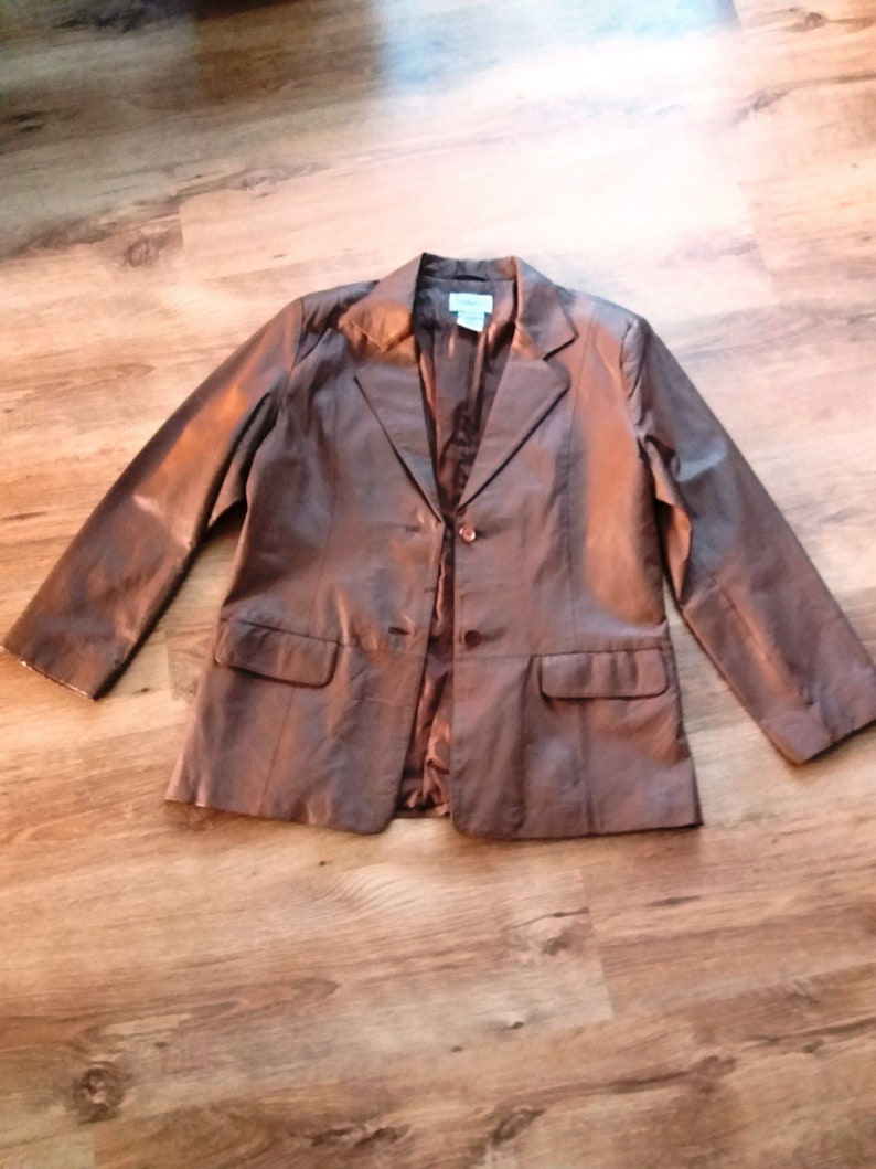 b6db5ce29 Vintage leather jacket brown womens genuine leather jacket size US L EU 46  GB 16 beautiful brown women's leather jacket natural leather coat