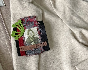 """Brooch """"Samurai"""", Asian spirit, sobriety of forms, creation JoeLesBiscottos"""